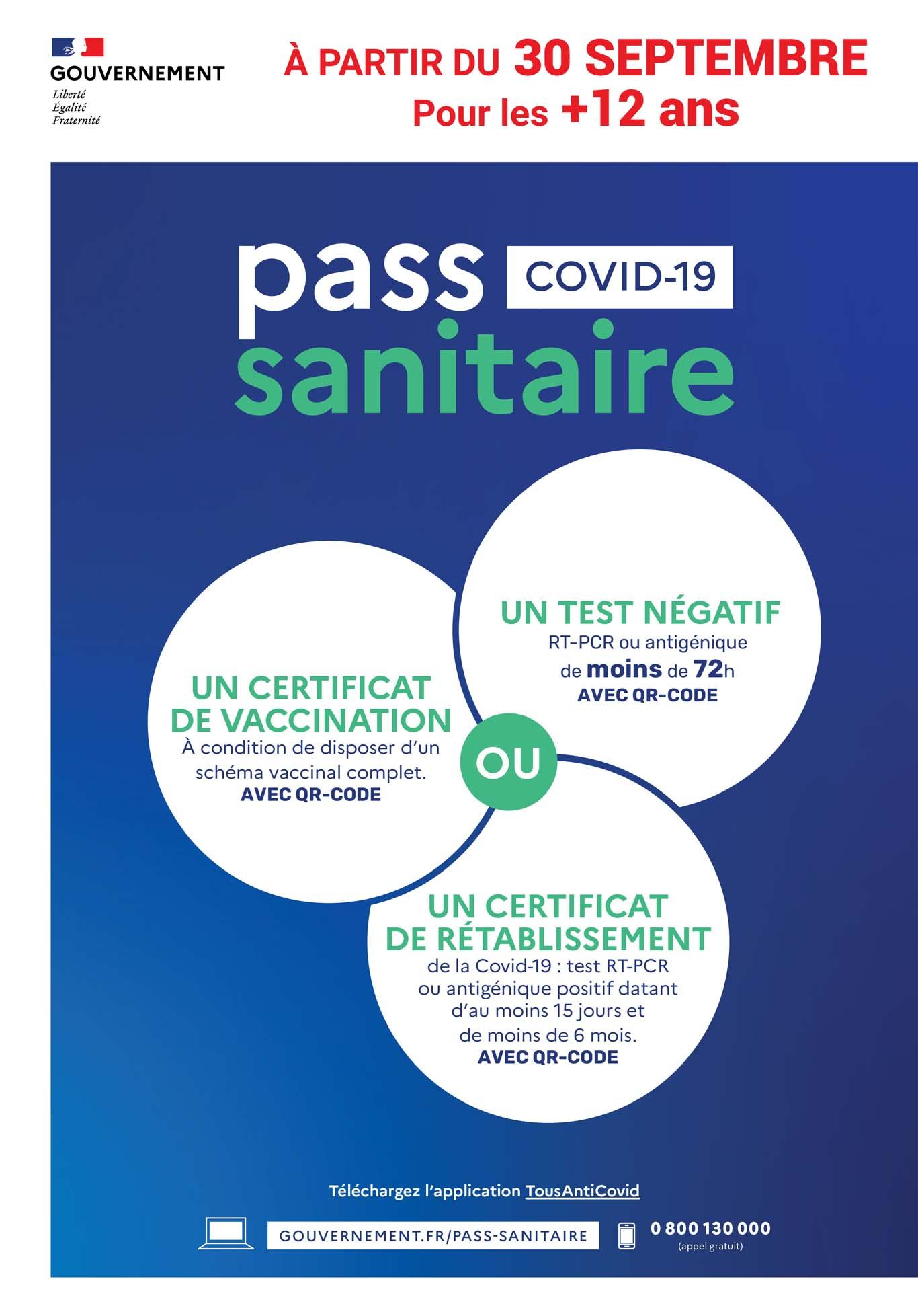 pass sanitaire - 30 septembre 2021